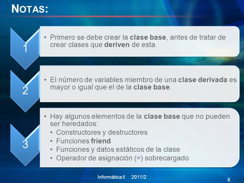 N OTAS : 1 Primero se debe crear la clase base, antes de tratar de crear clases que deriven de esta. 2 El número de variables miembro de una clase der