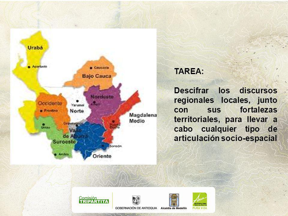 TAREA: Descifrar los discursos regionales locales, junto con sus fortalezas territoriales, para llevar a cabo cualquier tipo de articulación socio-espacial