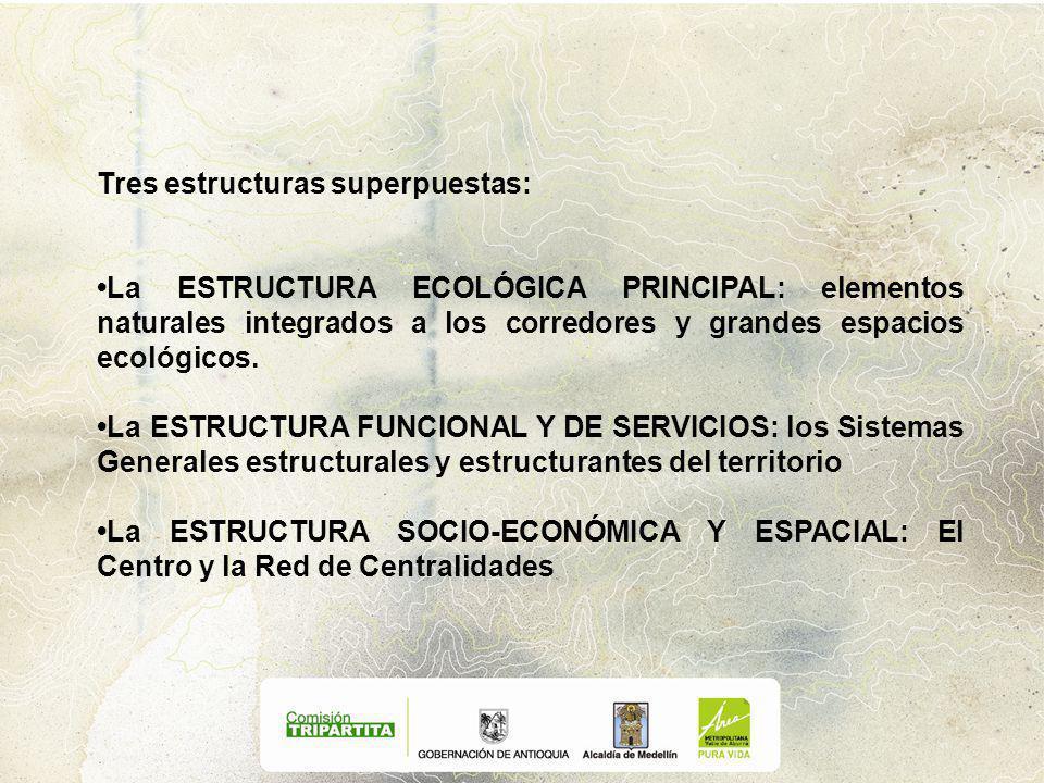 Tres estructuras superpuestas: La ESTRUCTURA ECOLÓGICA PRINCIPAL: elementos naturales integrados a los corredores y grandes espacios ecológicos.