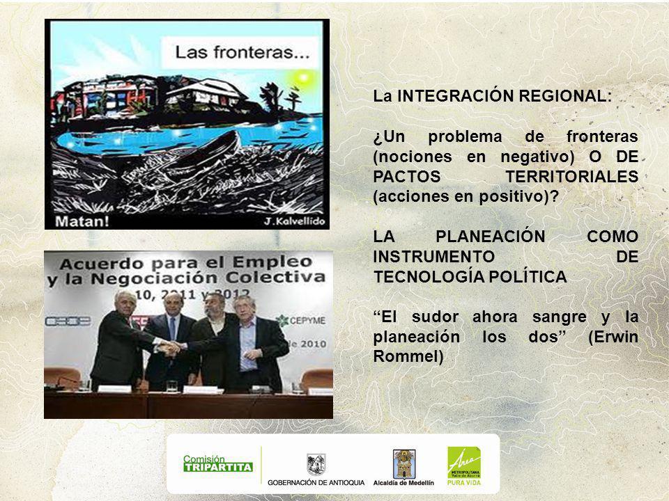 La INTEGRACIÓN REGIONAL: ¿Un problema de fronteras (nociones en negativo) O DE PACTOS TERRITORIALES (acciones en positivo).