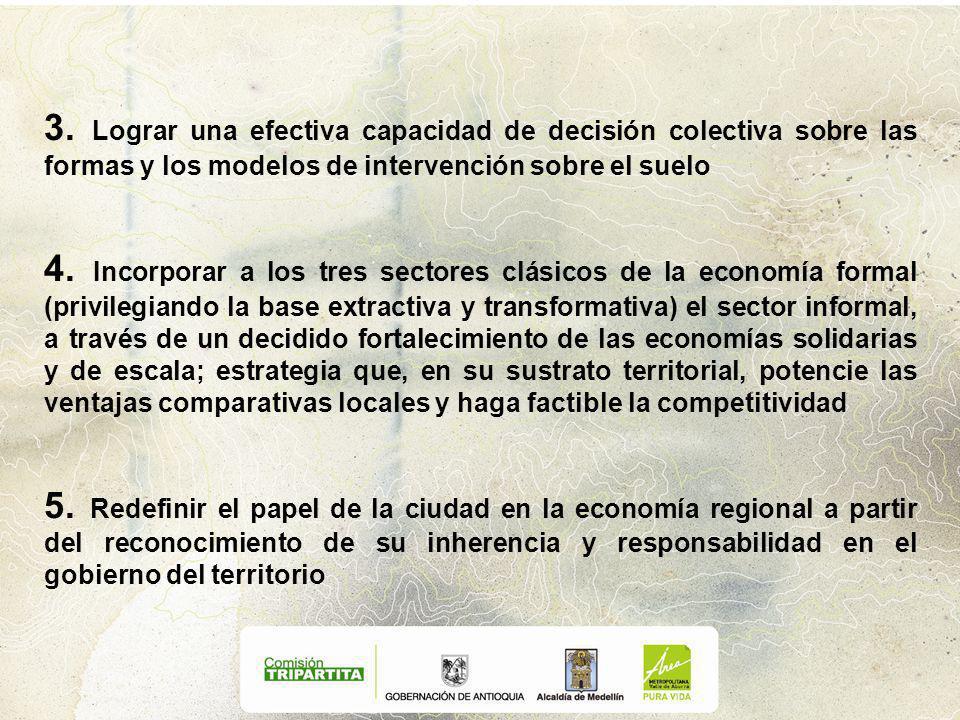 3. Lograr una efectiva capacidad de decisión colectiva sobre las formas y los modelos de intervención sobre el suelo 4. Incorporar a los tres sectores