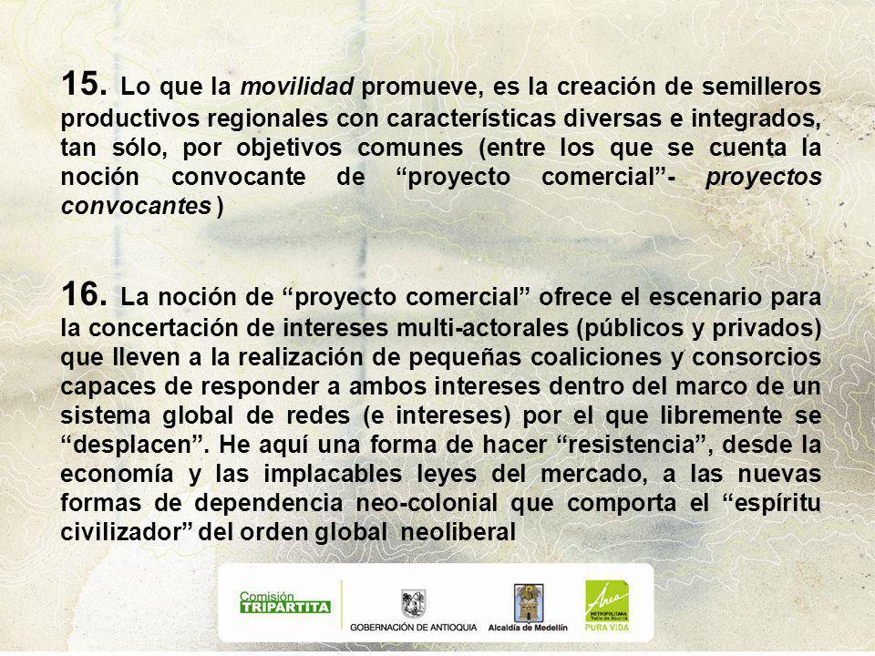 15. Lo que la movilidad promueve, es la creación de semilleros productivos regionales con características diversas e integrados, tan sólo, por objetiv