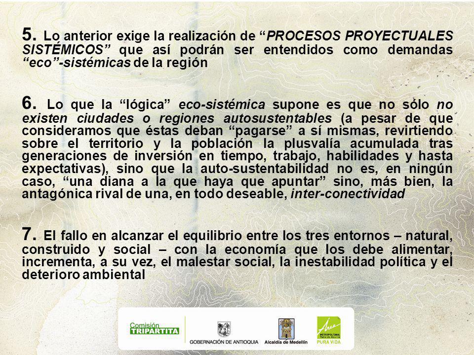 5. Lo anterior exige la realización de PROCESOS PROYECTUALES SISTÉMICOS que así podrán ser entendidos como demandas eco-sistémicas de la región 6. Lo