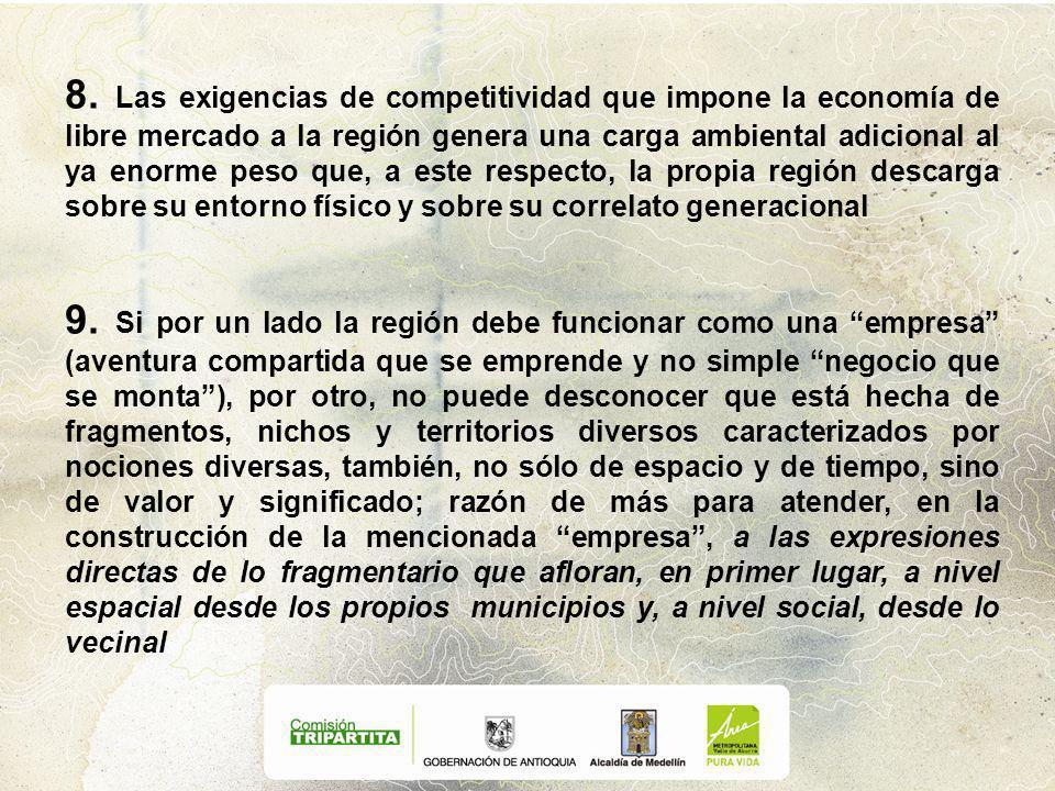 8. Las exigencias de competitividad que impone la economía de libre mercado a la región genera una carga ambiental adicional al ya enorme peso que, a
