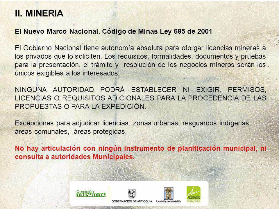 II.MINERIA El Nuevo Marco Nacional.
