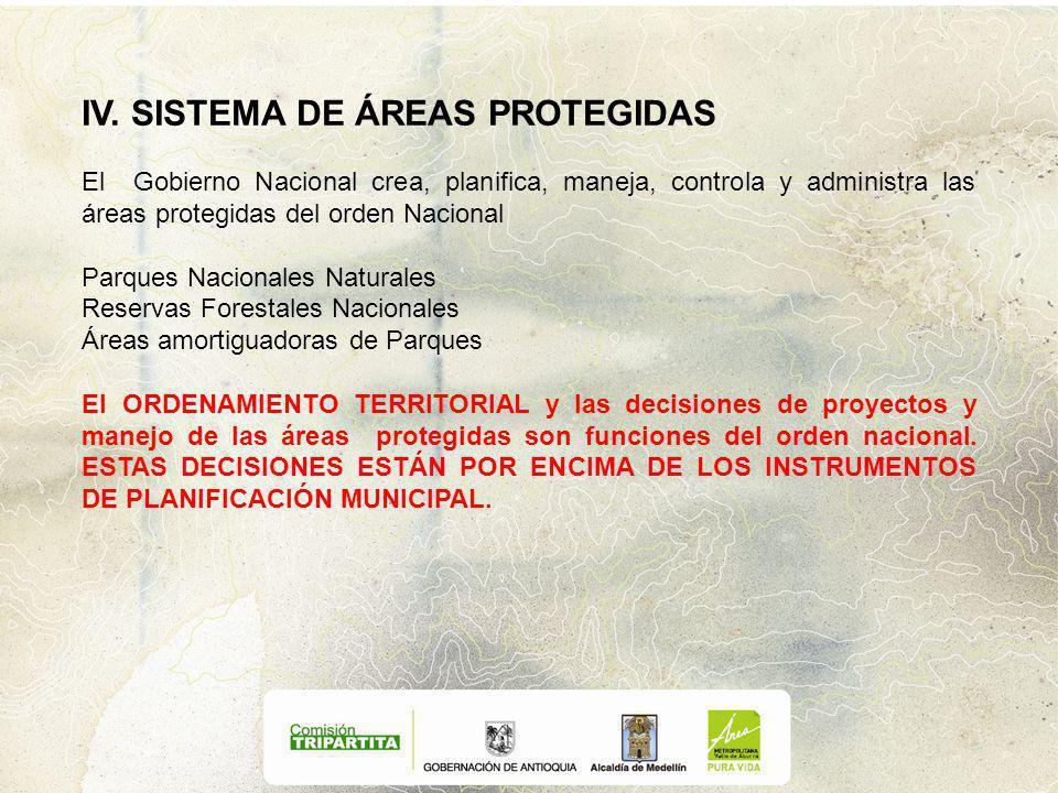 IV. SISTEMA DE ÁREAS PROTEGIDAS El Gobierno Nacional crea, planifica, maneja, controla y administra las áreas protegidas del orden Nacional Parques Na