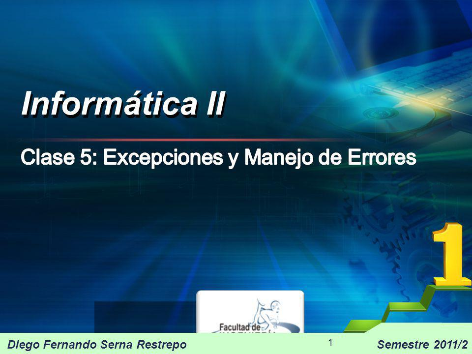 Excepciones C++ proporciona un mecanismo potente para detectar y gestionar errores en ejecución (excepciones) se dispone de tres palabras reservadas para ello: trycatchthrow Informática II 2009/2 12