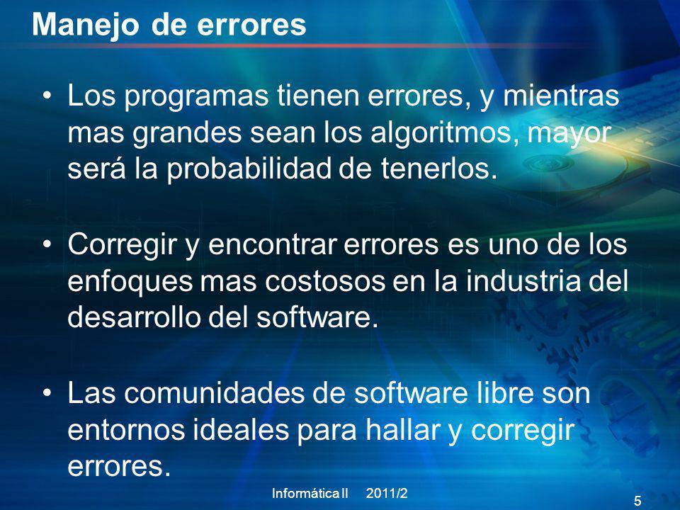 Contenido Informática II 2011/2 26 Introducción a las excepciones 1 Como utilizar excepciones.