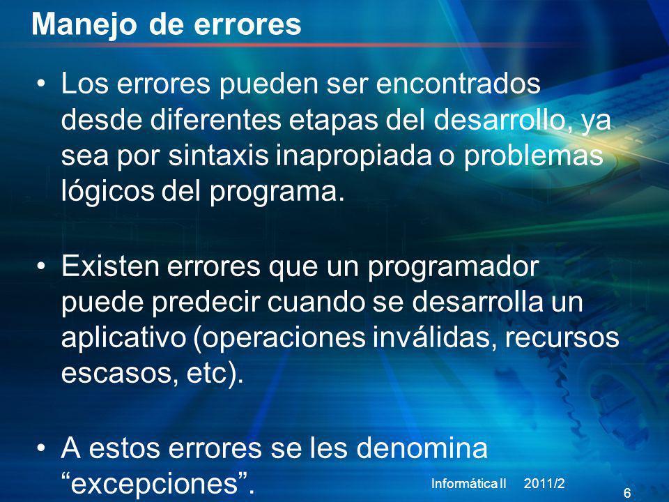 Ejemplo try-catch Informática II 2011/2 27 class carro{ private: int gGasolina; char *marca; int velMax; int vel; bool start; public: // se declara la clase para la excepción class problema; carro(); carro(int _gGasolina,char *_marca, int _velMax); void arrancar(); void acelerar(); void frenar(); int getVel() const; ~carro(); }; //se define la clase para la excepción class carro::problema{ private: char *mensaje; public: problema(); problema(char *_mensaje); char* what(); ~problema(); }; carro::carro(){ gGasolina=0; marca=0; velMax=0; vel=0; start=false; } carro::carro(int _gGasolina,char *_marca, int _velMax){ gGasolina=_gGasolina; marca=_marca; velMax=_velMax; vel=0; } void carro::acelerar(){ if(--gGasolina<=0){ throw problema( no puede acelerar sin gasolina ); } vel++; } carro::problema::problema(){ mensaje= error ; } carro::problema::problema(char *_mensaje){ mensaje=_mensaje; } char* carro::problema::what(){ return mensaje; } carro::problema::~problema(){} #include using namespace std; carro renault4(11, renault ,120); //Ejemplo uso de clases int main(){ try{ renault4.arrancar(); for(int i=0; i<30; i++){ renault4.acelerar(); cout<< velocidad actual:\ <<renault4.getVel()<<endl; } } catch(carro::problema e){ cout<< Problema hallado:\ <<e.what()<<endl; } }