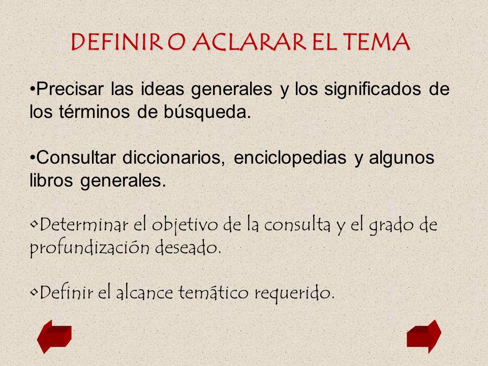 DEFINIR O ACLARAR EL TEMA Precisar las ideas generales y los significados de los términos de búsqueda. Consultar diccionarios, enciclopedias y algunos