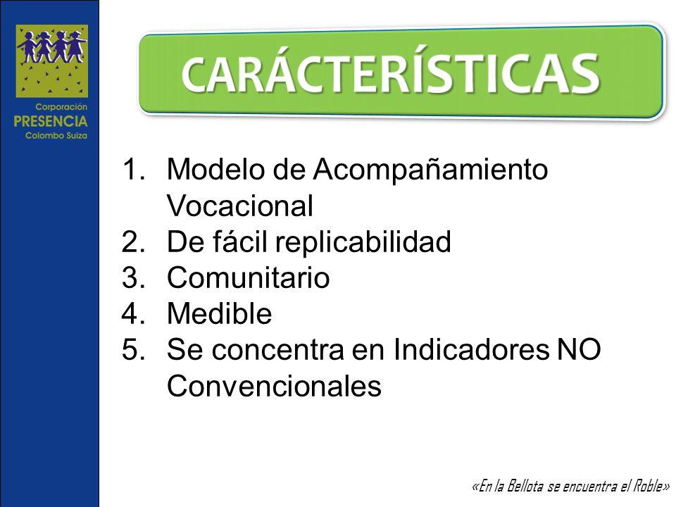 1.Modelo de Acompañamiento Vocacional 2.De fácil replicabilidad 3.Comunitario 4.Medible 5.Se concentra en Indicadores NO Convencionales «En la Bellota