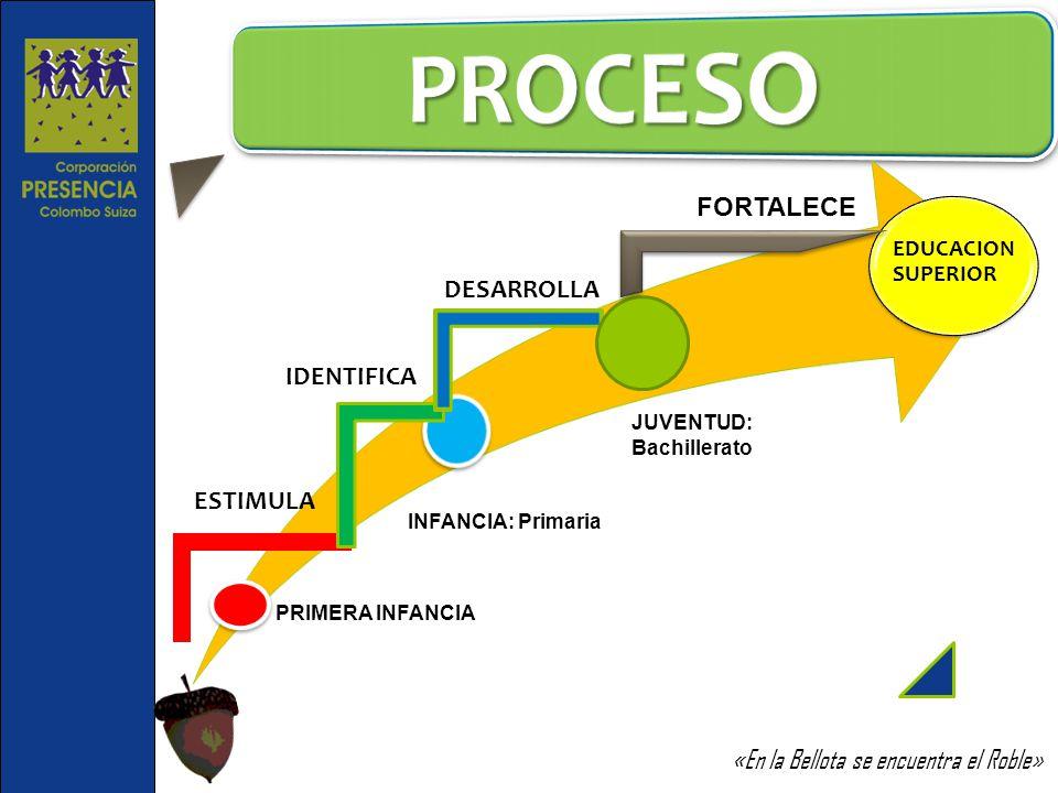 PRIMERA INFANCIA INFANCIA: Primaria EDUCACION SUPERIOR ESTIMULA IDENTIFICA DESARROLLA JUVENTUD: Bachillerato FORTALECE «En la Bellota se encuentra el
