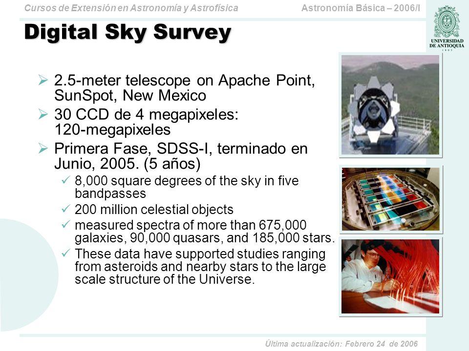 Astronomía Básica – 2006/ICursos de Extensión en Astronomía y Astrofísica Última actualización: Febrero 24 de 2006 Digital Sky Survey 2.5-meter telescope on Apache Point, SunSpot, New Mexico 30 CCD de 4 megapixeles: 120-megapixeles Primera Fase, SDSS-I, terminado en Junio, 2005.