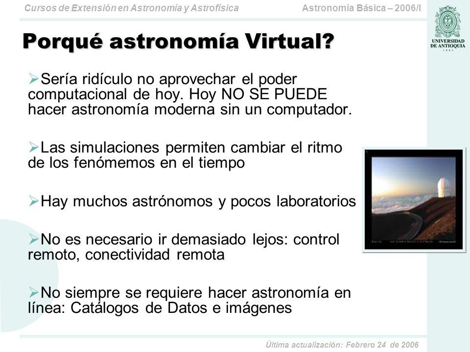Astronomía Básica – 2006/ICursos de Extensión en Astronomía y Astrofísica Última actualización: Febrero 24 de 2006 Porqué astronomía Virtual.