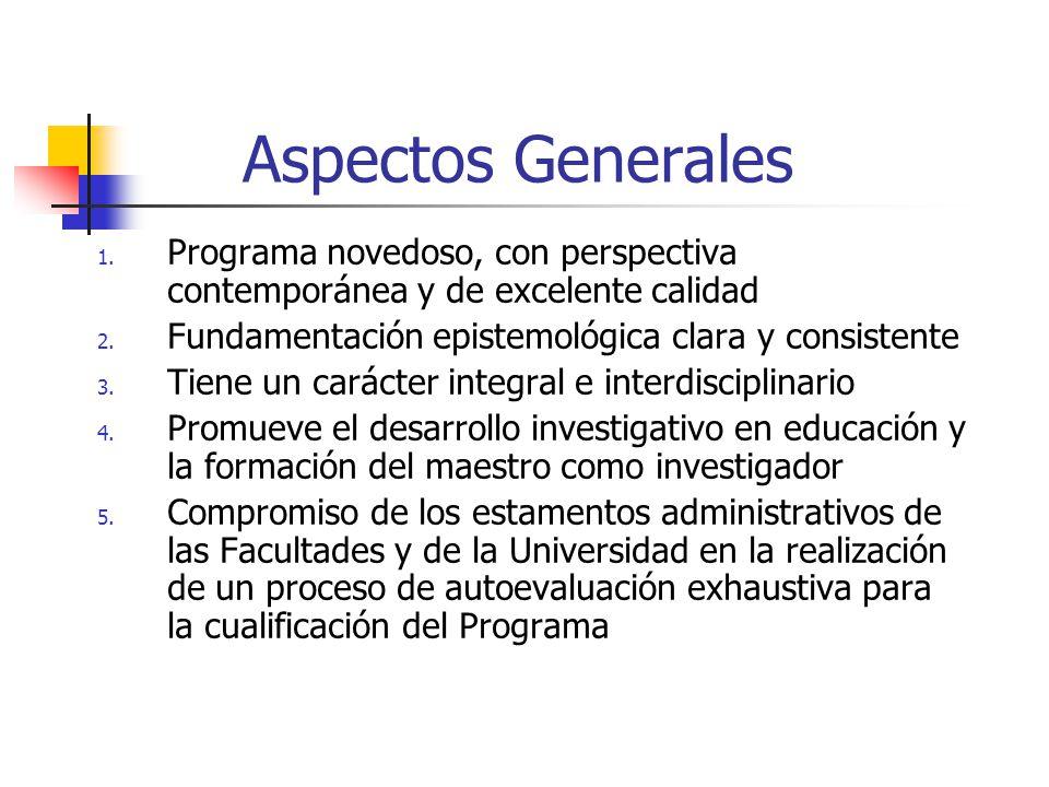 Aspectos Generales 1.Programa novedoso, con perspectiva contemporánea y de excelente calidad 2.