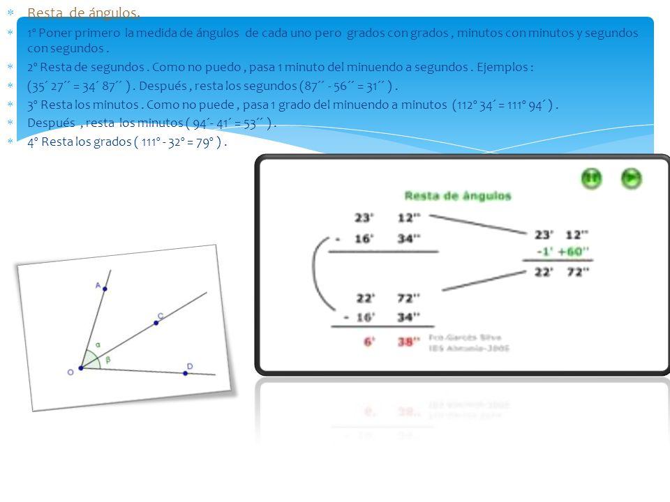 Resta de ángulos. 1º Poner primero la medida de ángulos de cada uno pero grados con grados, minutos con minutos y segundos con segundos. 2º Resta de s