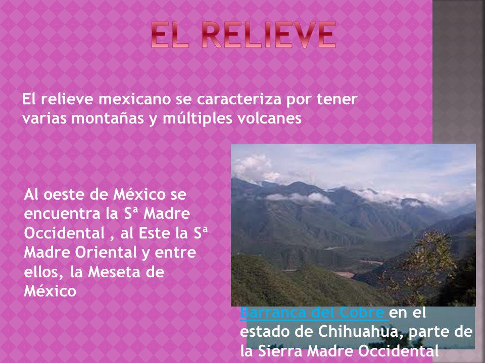 El relieve mexicano se caracteriza por tener varias montañas y múltiples volcanes Al oeste de México se encuentra la Sª Madre Occidental, al Este la Sª Madre Oriental y entre ellos, la Meseta de México Barranca del Cobre en el estado de Chihuahua, parte de la Sierra Madre Occidental