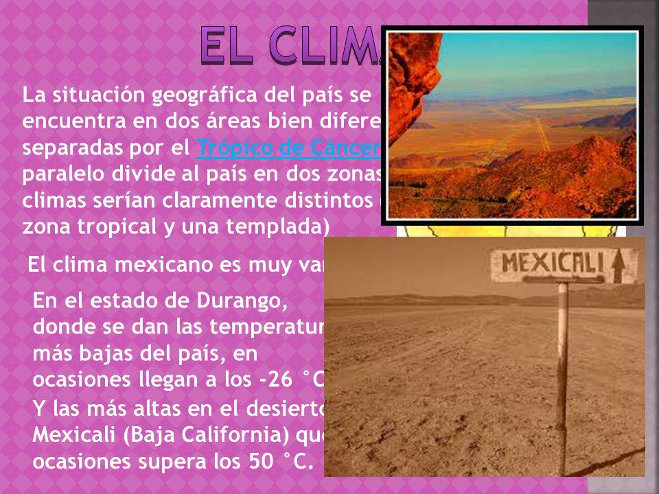 La situación geográfica del país se encuentra en dos áreas bien diferenciadas, separadas por el Trópico de Cáncer.