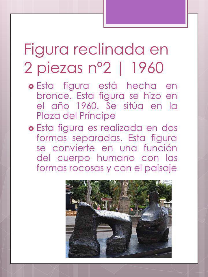 Figura reclinada en 2 piezas nº2 | 1960 Esta figura está hecha en bronce. Esta figura se hizo en el año 1960. Se sitúa en la Plaza del Príncipe Esta f