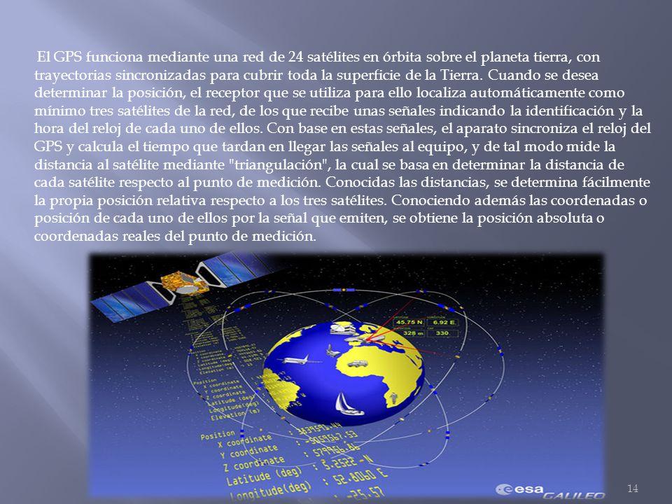 El GPS funciona mediante una red de 24 satélites en órbita sobre el planeta tierra, con trayectorias sincronizadas para cubrir toda la superficie de l