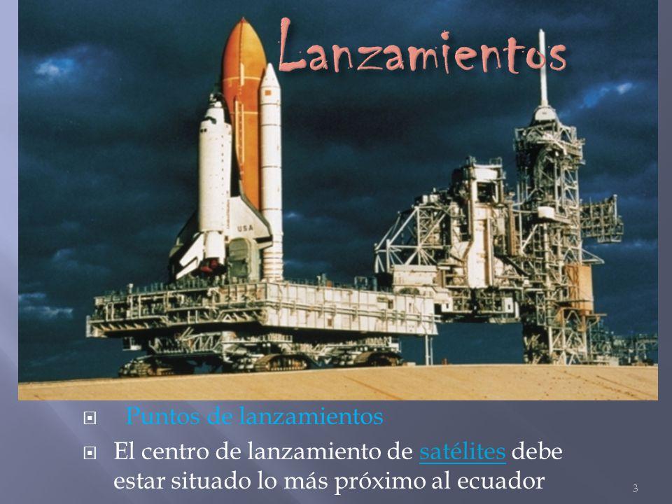 Puntos de lanzamientos El centro de lanzamiento de satélites debe estar situado lo más próximo al ecuador satélites 3