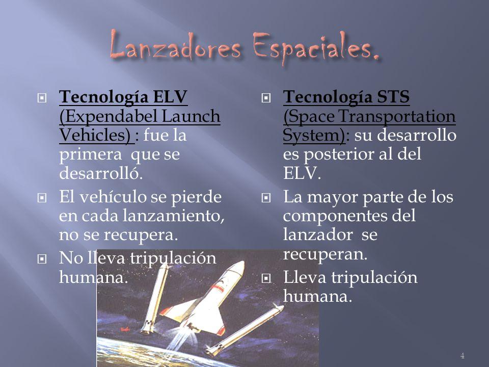 Tecnología ELV (Expendabel Launch Vehicles) : fue la primera que se desarrolló. El vehículo se pierde en cada lanzamiento, no se recupera. No lleva tr