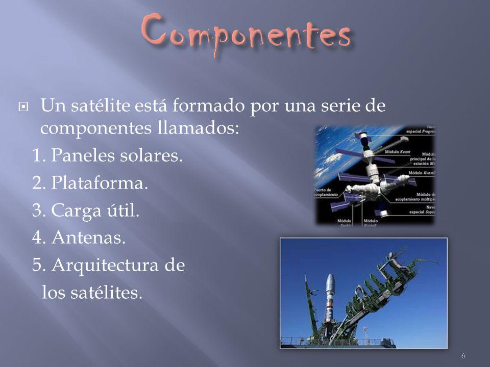Un satélite está formado por una serie de componentes llamados: 1. Paneles solares. 2. Plataforma. 3. Carga útil. 4. Antenas. 5. Arquitectura de los s