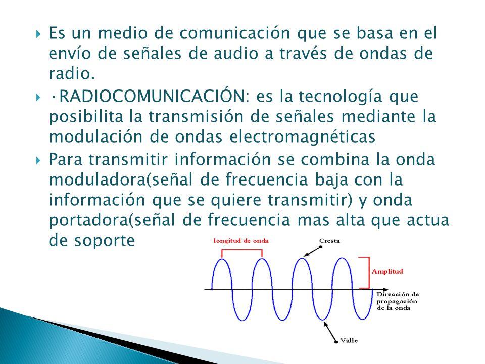 Es un medio de comunicación que se basa en el envío de señales de audio a través de ondas de radio. ·RADIOCOMUNICACIÓN: es la tecnología que posibilit