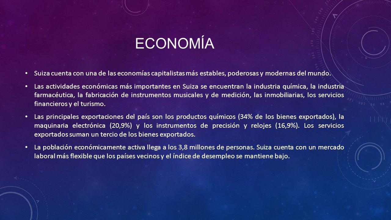 ECONOMÍA Suiza cuenta con una de las economías capitalistas más estables, poderosas y modernas del mundo. Las actividades económicas más importantes e