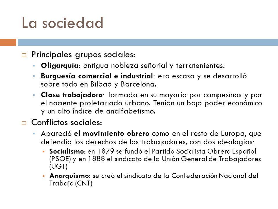 La sociedad Principales grupos sociales: Oligarquía: antigua nobleza señorial y terratenientes. Burguesía comercial e industrial: era escasa y se desa