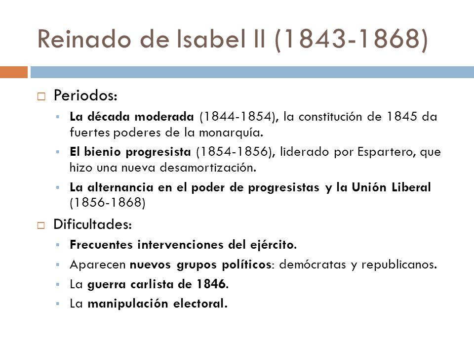 Reinado de Isabel II (1843-1868) Periodos: La década moderada (1844-1854), la constitución de 1845 da fuertes poderes de la monarquía. El bienio progr