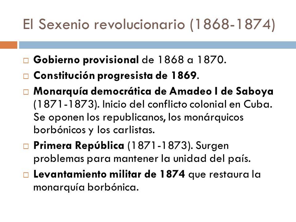 El Sexenio revolucionario (1868-1874) Gobierno provisional de 1868 a 1870. Constitución progresista de 1869. Monarquía democrática de Amadeo I de Sabo