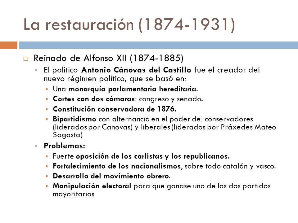 La restauración (1874-1931) Reinado de Alfonso XII (1874-1885) El político Antonio Cánovas del Castillo fue el creador del nuevo régimen político, que