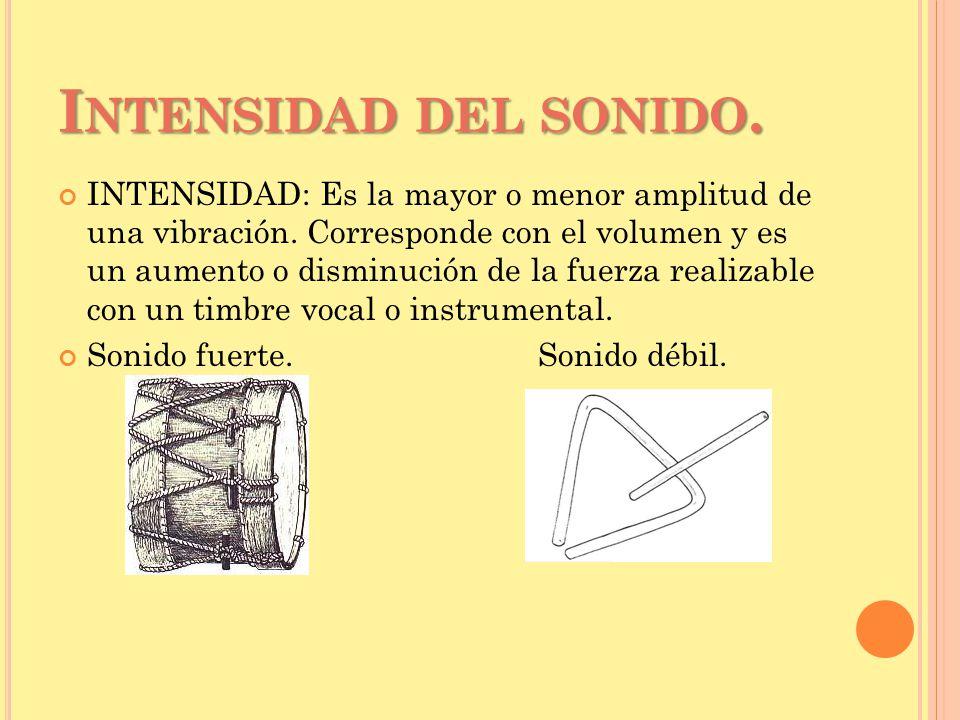 I NTENSIDAD DEL SONIDO.INTENSIDAD: Es la mayor o menor amplitud de una vibración.