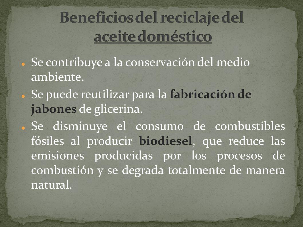 Se contribuye a la conservación del medio ambiente. Se puede reutilizar para la fabricación de jabones de glicerina. Se disminuye el consumo de combus