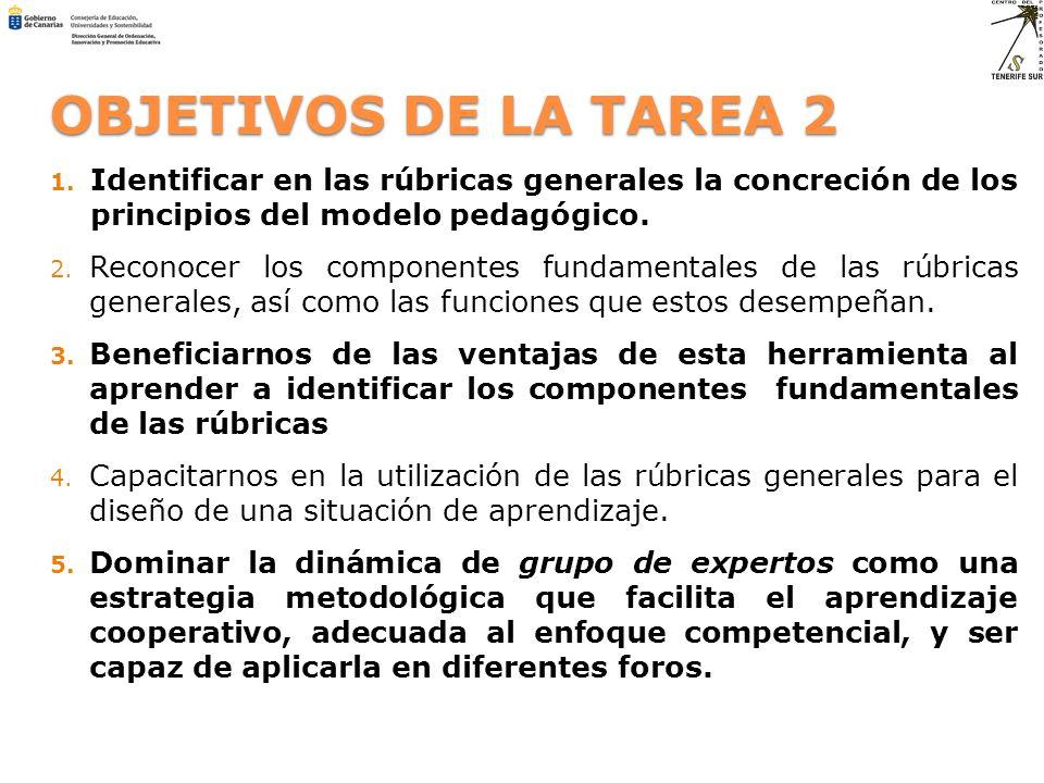 OBJETIVOS DE LA TAREA 2 1. Identificar en las rúbricas generales la concreción de los principios del modelo pedagógico. 2. Reconocer los componentes f