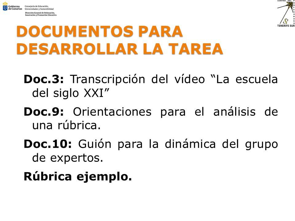 DOCUMENTOS PARA DESARROLLAR LA TAREA Doc.3: Transcripción del vídeo La escuela del siglo XXI Doc.9: Orientaciones para el análisis de una rúbrica. Doc
