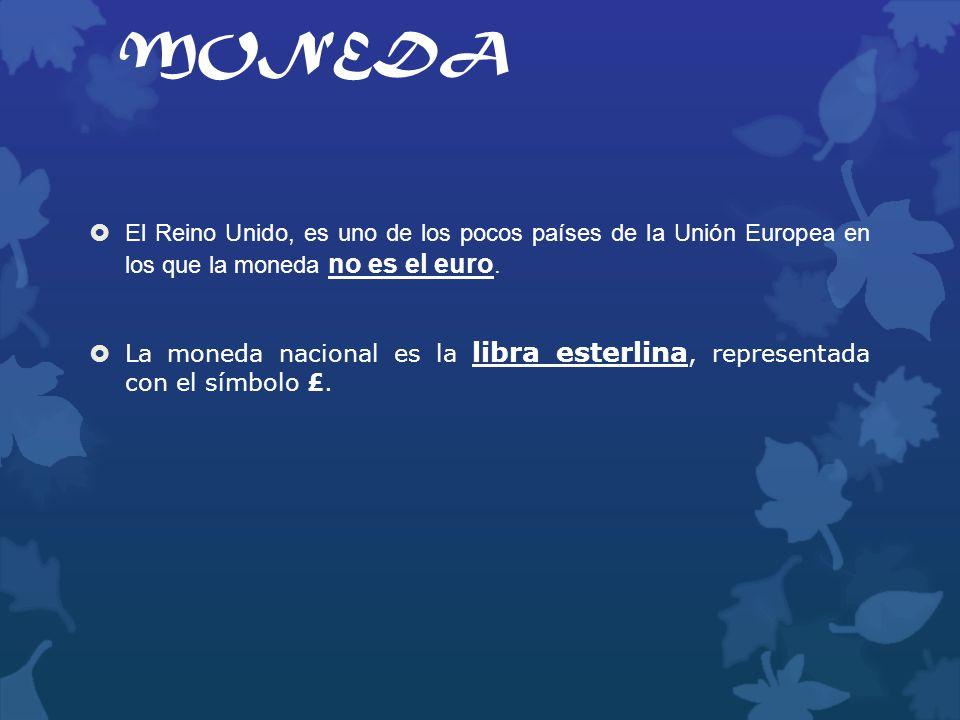 MONEDA El Reino Unido, es uno de los pocos países de la Unión Europea en los que la moneda no es el euro. La moneda nacional es la libra esterlina, re