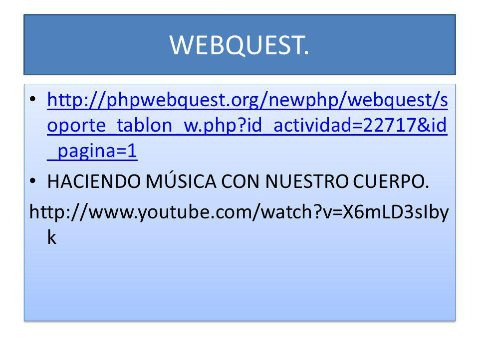 WEBQUEST. http://phpwebquest.org/newphp/webquest/s oporte_tablon_w.php?id_actividad=22717&id _pagina=1 http://phpwebquest.org/newphp/webquest/s oporte