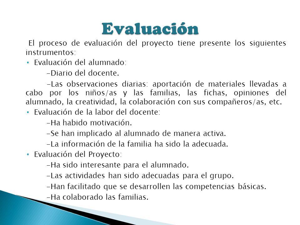 El proceso de evaluación del proyecto tiene presente los siguientes instrumentos: Evaluación del alumnado: -Diario del docente. -Las observaciones dia