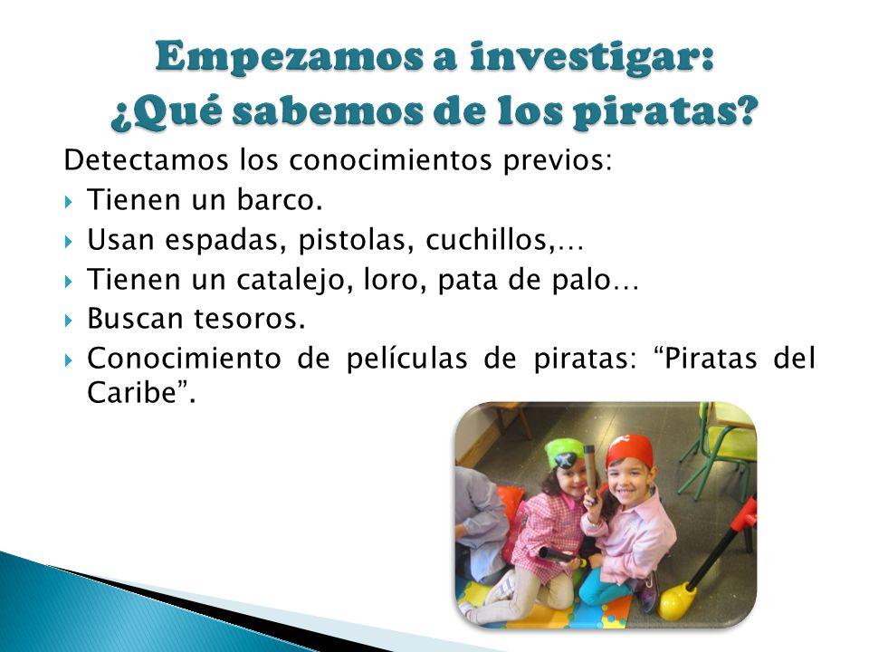 Detectamos los conocimientos previos: Tienen un barco. Usan espadas, pistolas, cuchillos,… Tienen un catalejo, loro, pata de palo… Buscan tesoros. Con