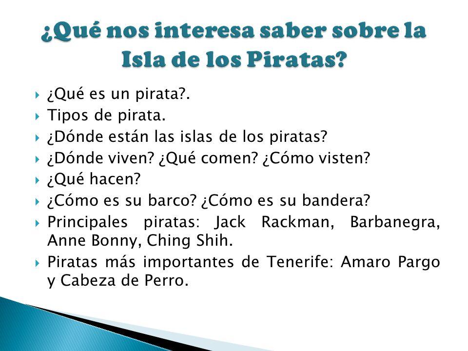 ¿Qué es un pirata?. Tipos de pirata. ¿Dónde están las islas de los piratas? ¿Dónde viven? ¿Qué comen? ¿Cómo visten? ¿Qué hacen? ¿Cómo es su barco? ¿Có