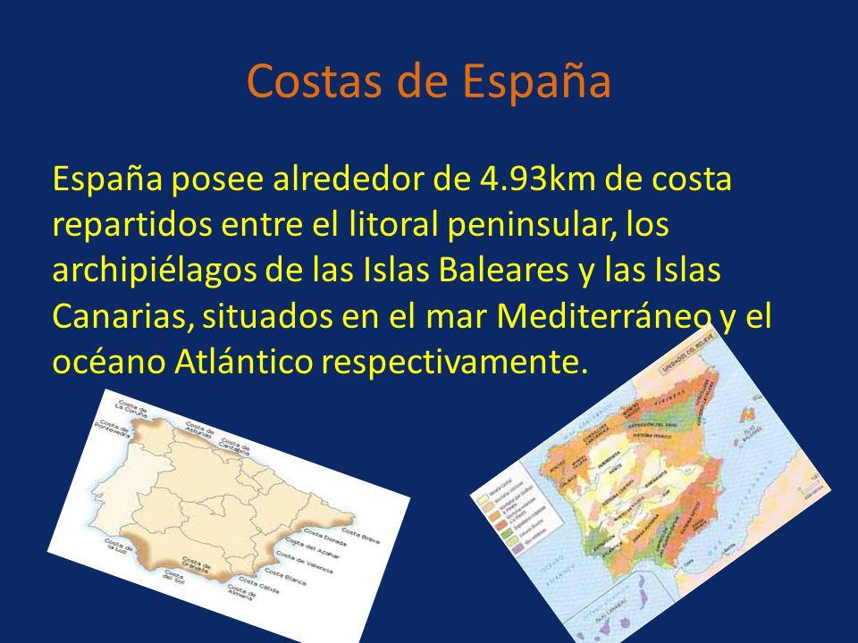 Costas de España España posee alrededor de 4.93km de costa repartidos entre el litoral peninsular, los archipiélagos de las Islas Baleares y las Islas