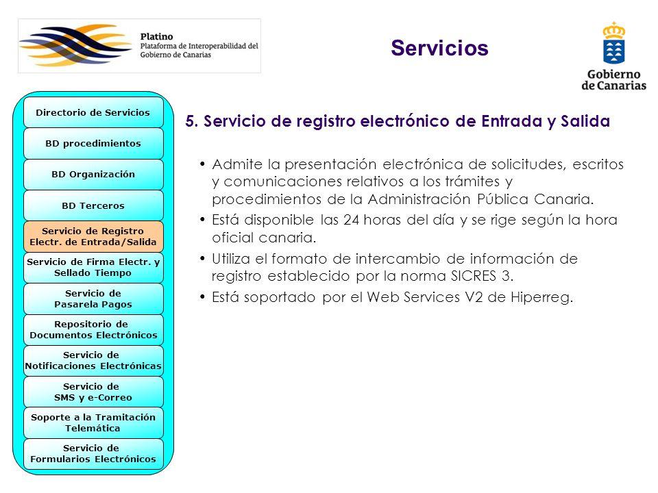 5. Servicio de registro electrónico de Entrada y Salida Admite la presentación electrónica de solicitudes, escritos y comunicaciones relativos a los t