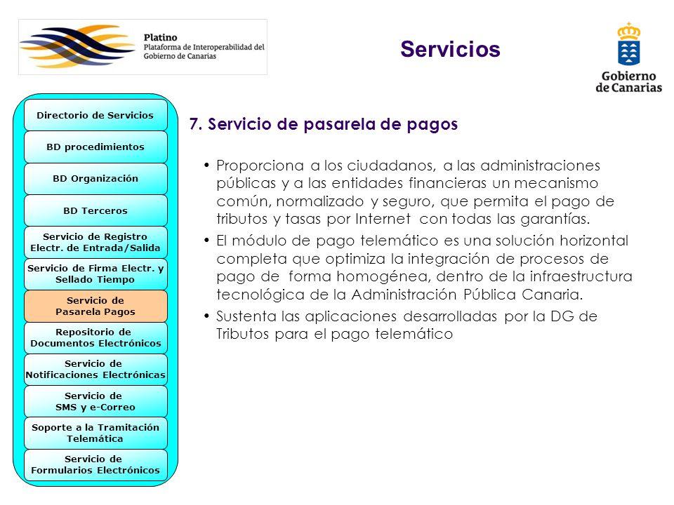 7. Servicio de pasarela de pagos Proporciona a los ciudadanos, a las administraciones públicas y a las entidades financieras un mecanismo común, norma