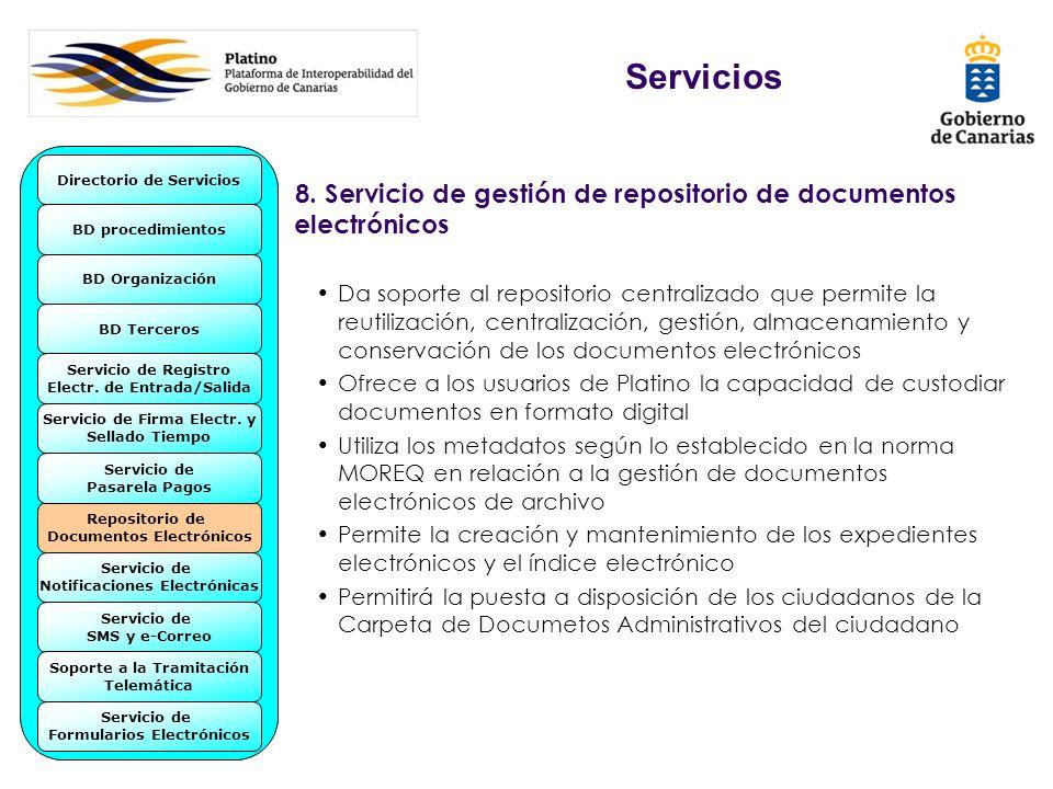 8. Servicio de gestión de repositorio de documentos electrónicos Da soporte al repositorio centralizado que permite la reutilización, centralización,
