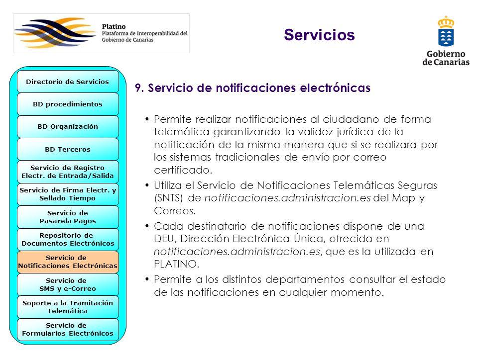 9. Servicio de notificaciones electrónicas Permite realizar notificaciones al ciudadano de forma telemática garantizando la validez jurídica de la not