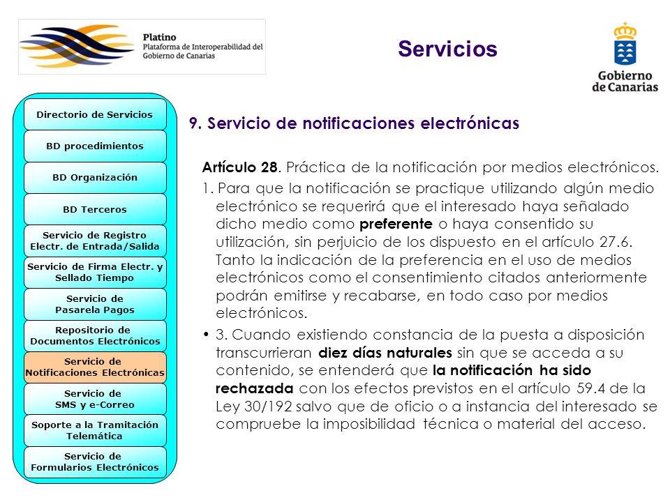 9. Servicio de notificaciones electrónicas Artículo 28. Práctica de la notificación por medios electrónicos. 1. Para que la notificación se practique