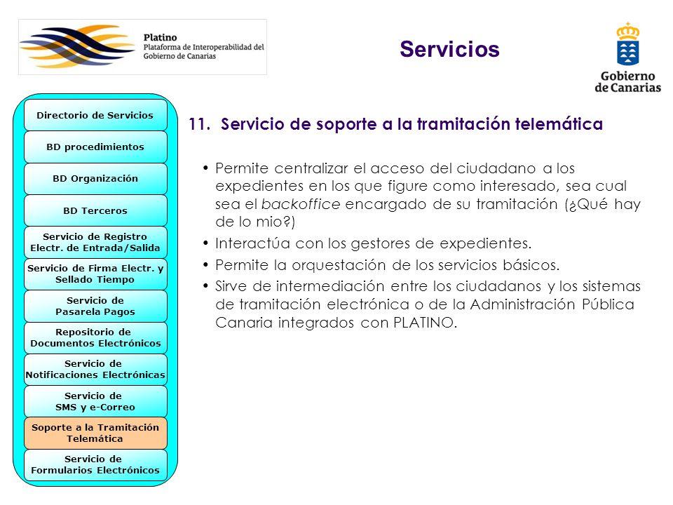 11. Servicio de soporte a la tramitación telemática Permite centralizar el acceso del ciudadano a los expedientes en los que figure como interesado, s