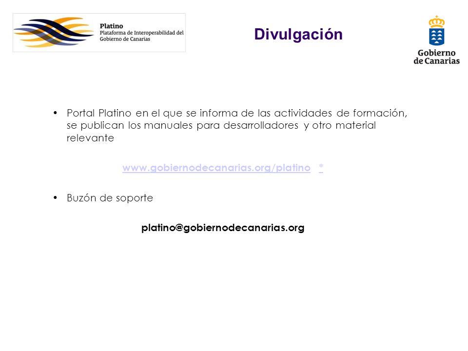 Portal Platino en el que se informa de las actividades de formación, se publican los manuales para desarrolladores y otro material relevante www.gobie